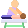 Icona osteopata paziente su lettino