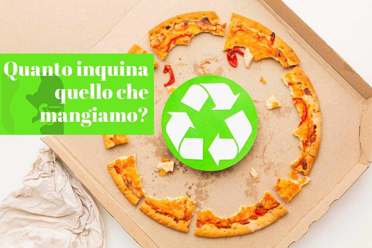 Pizza con cerchio riciclare